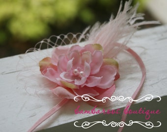 feather newborn headband, pink flower headband, feather baby headband, photography props, vintage headband, dusty pink headband