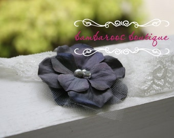 baby headbands, newborn headbands, navy blue flower headband, grey headband, infant headband, toddler headband, photo prop, blue headband