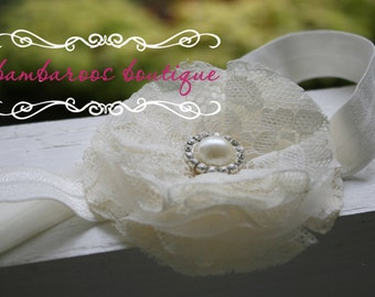 baby headband, ivory headband, flower girl hair accessories, baptism head band