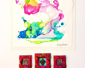 Colorful Art, Whimsical, Abstract Watercolor, Mixed Media Original, Original Art, Watercolors Painting Original