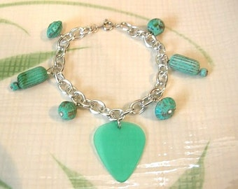 Guitar Pick Bracelet With Repurposed Aqua Green Beads - Music Jewelry