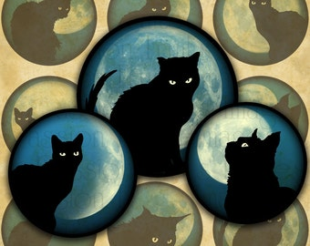 Black Cats on Blue Moonlit Skies 1.5 inch Circles Halloween Digital Collage Sheet--Instant Download