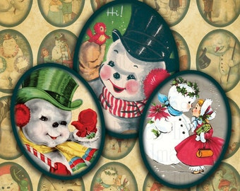 Victorian Snowmen 18mm x 25mm  Ovals Digital Collage Sheet Christmas Ovals-- Instant Download