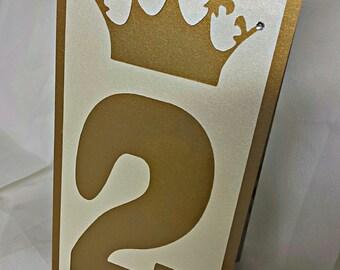 Table Numbers, Die Cut Table Numbers, Table Tent -- Crown Table Number