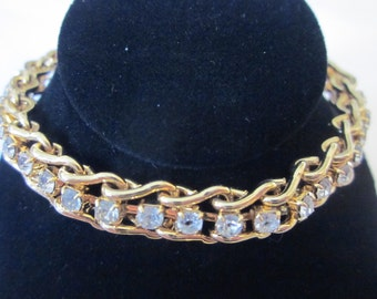 Tennis Anyone? - Vintage Gold Tone Tennis Bracelet with Clear Rhinestones