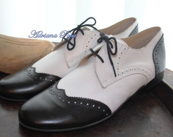 70 % SALE Oxford shoes Size 9 and 10 US Black&White Lady Oxford Shoes Customized shoes Brogues Lady shoes