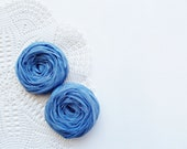 Blue Fabric Roses Handmade Appliques Embellishment Set of 2