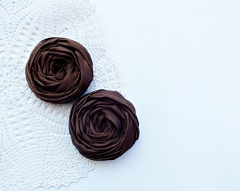 Brown Fabric Roses Handmade Appliques Embellishment Set of 2