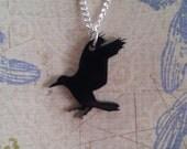 Raven Crow - laser cut, black, bird necklace