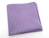 Gingham Cotton Pocket Square or Handkerchief in plum purple and white