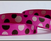 DOTS in light pink and brown on dusty rose 3/8 Grosgrain Ribbon (other colors also available) 5 yards