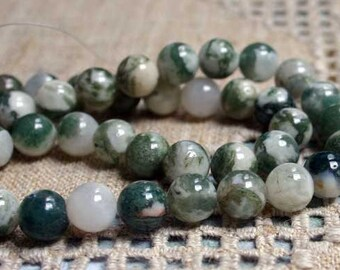 40pcs 10mm Tree Agate Natural Gemstone Beads Round 16 Inches Strand