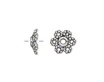 50pcs Antiqued Silver Plated Pewter Bead Cap 10x3mm Flower For 8-14mm Bead