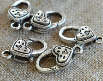 8pcs Clasp Lobster Claw Antiqued Silver Finished Pewter 17x10mm Paw Heart Design