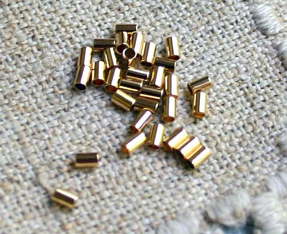 100pcs Crimp Beads Gold Plated Brass 3x2mm Tube 1.4mm ID