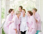 Bridesmaid Robes Set of 6 Monogrammed Kimono Waffle Weave Robes Wedding Party Bridesmaids Robes Gifts Bridal Gifts Monogram Front embroidery
