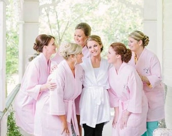 Bride and Bridesmaids Spa Robes Custom Bridesmaid Gift Front embroidery is included