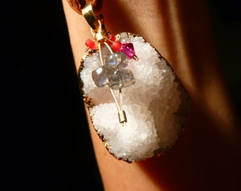 Druzy Pendant Necklace Semi Precious Gems