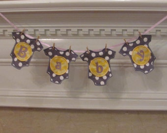 Baby Girl Fabric Banner in Gray with White Dots and Yellow Chevron  for a Baby Shower Decoration and/or Gift, and/or Nursery Room Decoration