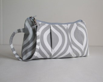 Wristlet Clutch Zipper Pouch, Zippered Clutch, Bridesmaid Gift, Gift Idea, Gift For Her  - Nicole Ash Gray