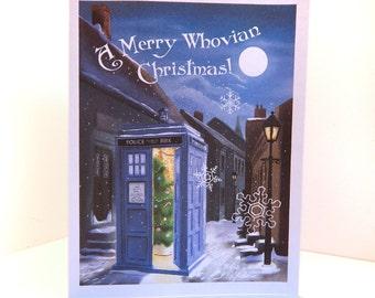Tardis Original Illustration Christmas Card