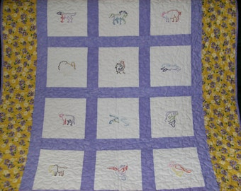 Embroidered Baby Quilt, Crib Quilt,  Animals, Purple Yellow