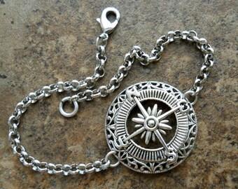 Wanderlust Compass Bracelet, Silver Compass Bracelet, Compass, Bracelet, silver compass, silver bracelet, silver,