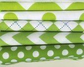 NEW Lime Green & White Stash Stack - 5 pc Fat Quarter Fabric Bundle