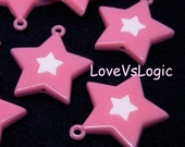 6 Huge Acrylic Star Charms. Dark Pink With White Star.