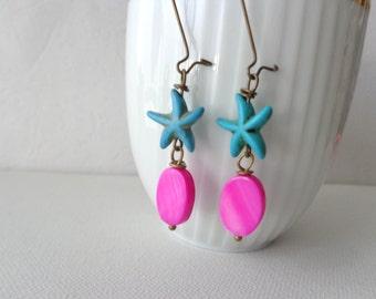 Nautical starfish turquoise pink earrings