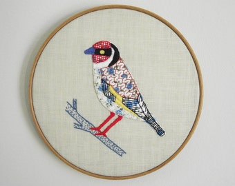 Goldfinch Birdseeker. Hand Embroidery.