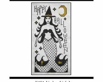 PDF E pattern emailed Mermaid Witch Halloween Cross Stitch Pattern Sampler Design 131