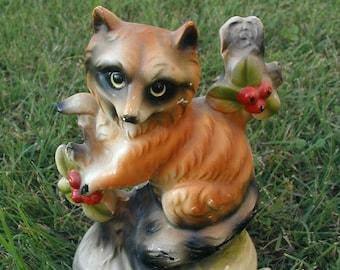 Chalkware Raccoon Figure Figurine Earthy Tones