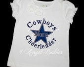 Cowboys Fan Boys or Girls Birthday or Football Navy & Silver Star Applique Shirt or Body Suit with NAME, Phrase, and Size of Choice