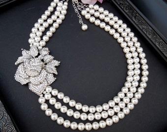 ivory swarovski pearl and crystal necklace Statement Bridal necklace Wedding Rhinestone necklace swarovski crystal and pearl ROSETTE
