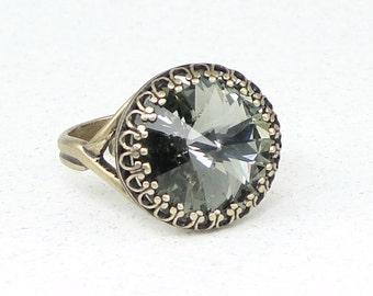 Romantic Grey Jewelry Antique Brass Cocktail Ring with Swarovski Crystal, Ring Vintage Style Black Diamond Rivoli Ring