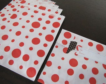 Paper Bags-Polka Dot Bags-Set of 50- 6.5 x 5 inch Bags-Favor Bags-Treat Bags-Red and White