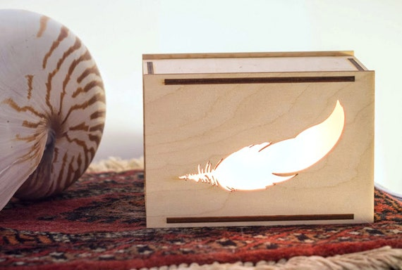 ON SALE - Wooden Feather Desk Box Lamp or Night Light Accent