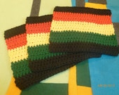 Washcloths Black Red Yellow Green Rasta 100% Cotton