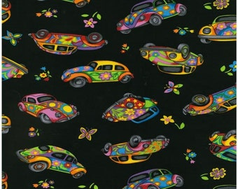 Herbie Fabric the Love Bug Volkswagen Fabric / VW Fabric on Black Background Nutex Novelty Fabric from New Zealand by HotDiggityDogFabrics