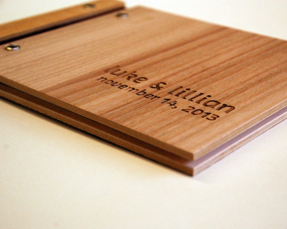Unique Handmade Wedding Gifts: Wedding Guest Book Wood Custom Engagement Anniversary By