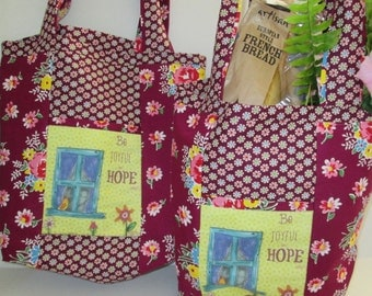 "Inspirational Market Tote, Overnight Bag, Shopping Tote,  ""Be Joyful in Hope"" Romans 12:12   Ready to ship"
