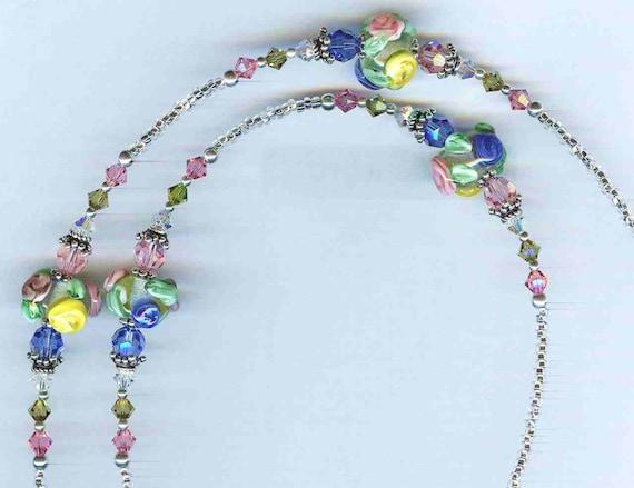 Spring Garden Handmade Lampwork Bead & Swarovski Crystal Beaded ID Badge Lanyard or Eyeglass Chain