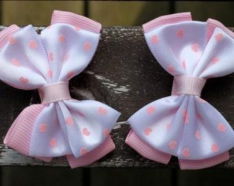 Light Pink Heart Hair Bows - No Slip Grip