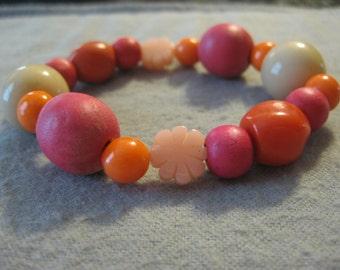 Bright Pink and Orange Flower Beaded Bracelet