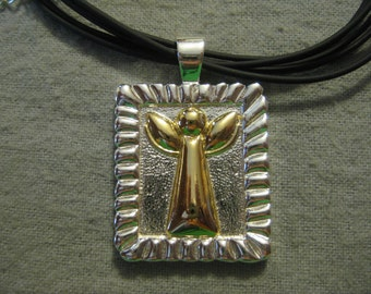 Gold and Silver Angel Pendant Necklace