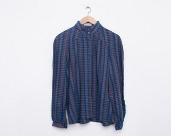 80s Nos vintage blue blouse mao collar plaid
