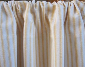 Curtain, Cabinet Curtain, Sink Curtain, Yellow Woven Cotton Ticking Stripe Cabinet Curtain Panel 50 x 34