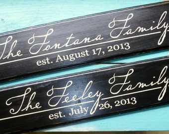 Personalized Sign Established Family Name Sign Plaque Great Anniversary, Bridal Shower, Wedding Gift, House Warming (Lasecki)