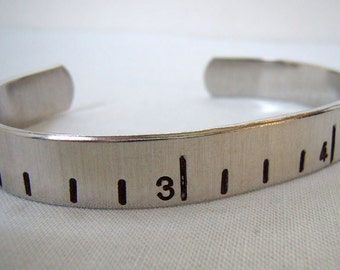 Tape measure Cuff - Aluminum Bracelet - Measuring tape bracelet
